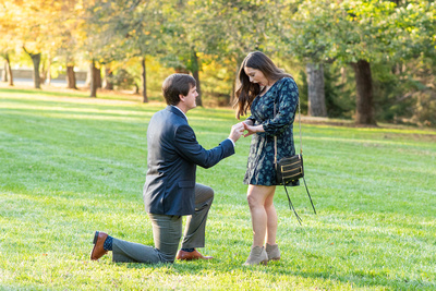 Womans shocked reaction of a proposal at Biltmore Estate in Asheville NC