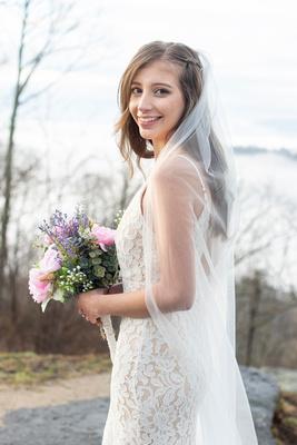 Bridal portrait at Jump Off Rock near Hendersonville NC