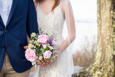 Bridal bouquet at winter wedding near Hendersonville NC at Jump Off Rock