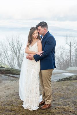 Mountain view elopement at Jump Off Rock near Hendersonville NC