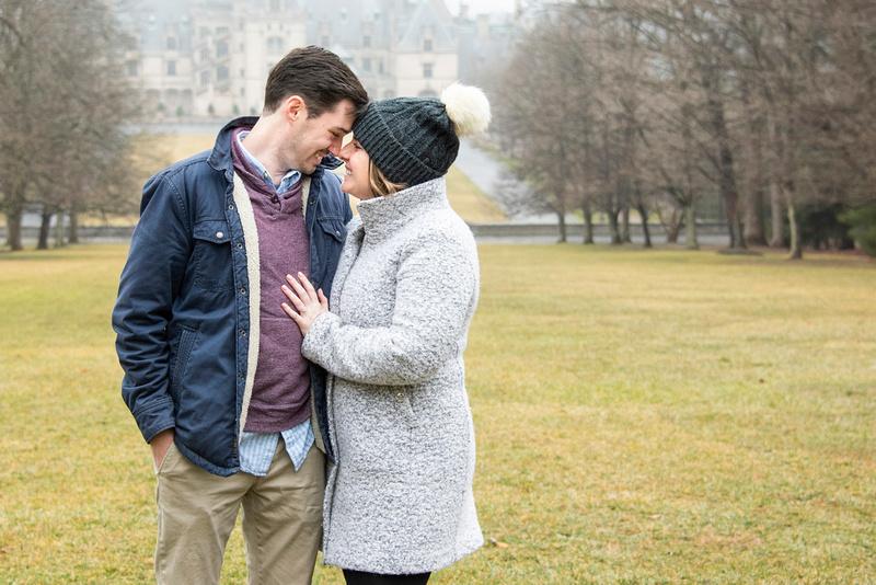 Couples portrait after engagement at Winter engagement proposal at Biltmore Estate in Asheville NC