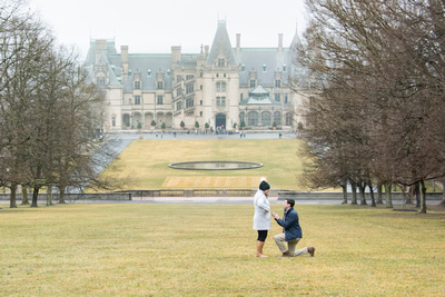 Engagement and proposal at Winter engagement proposal at Biltmore Estate in Asheville NC