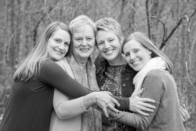 mom and daughters black and white photography